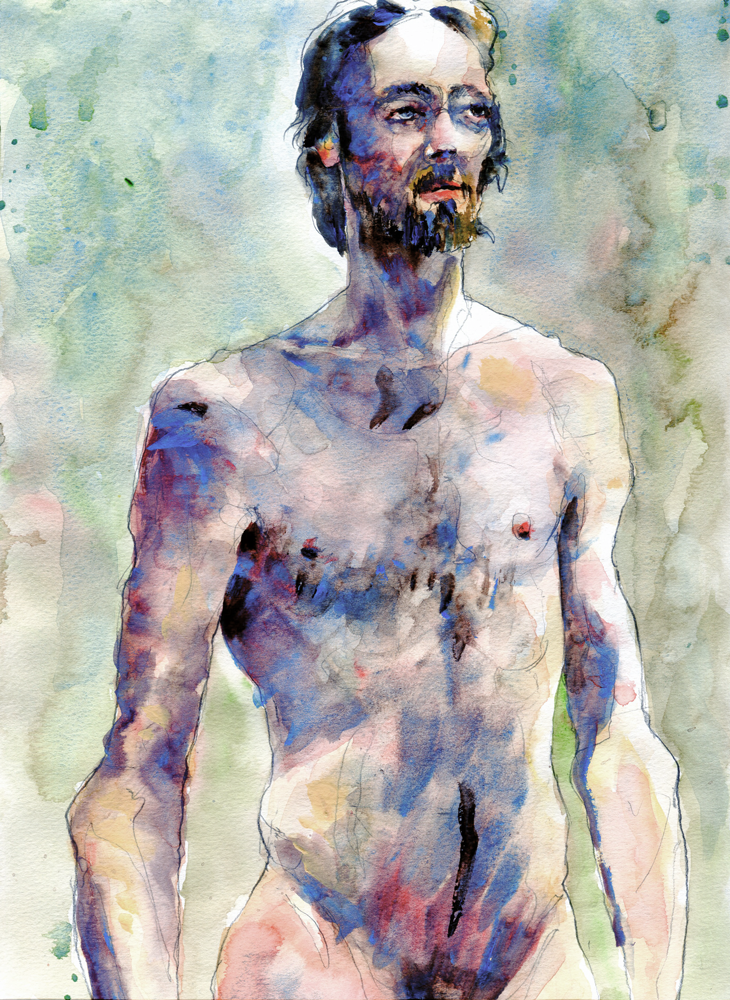 Male nude watercolour study by David Meldrum