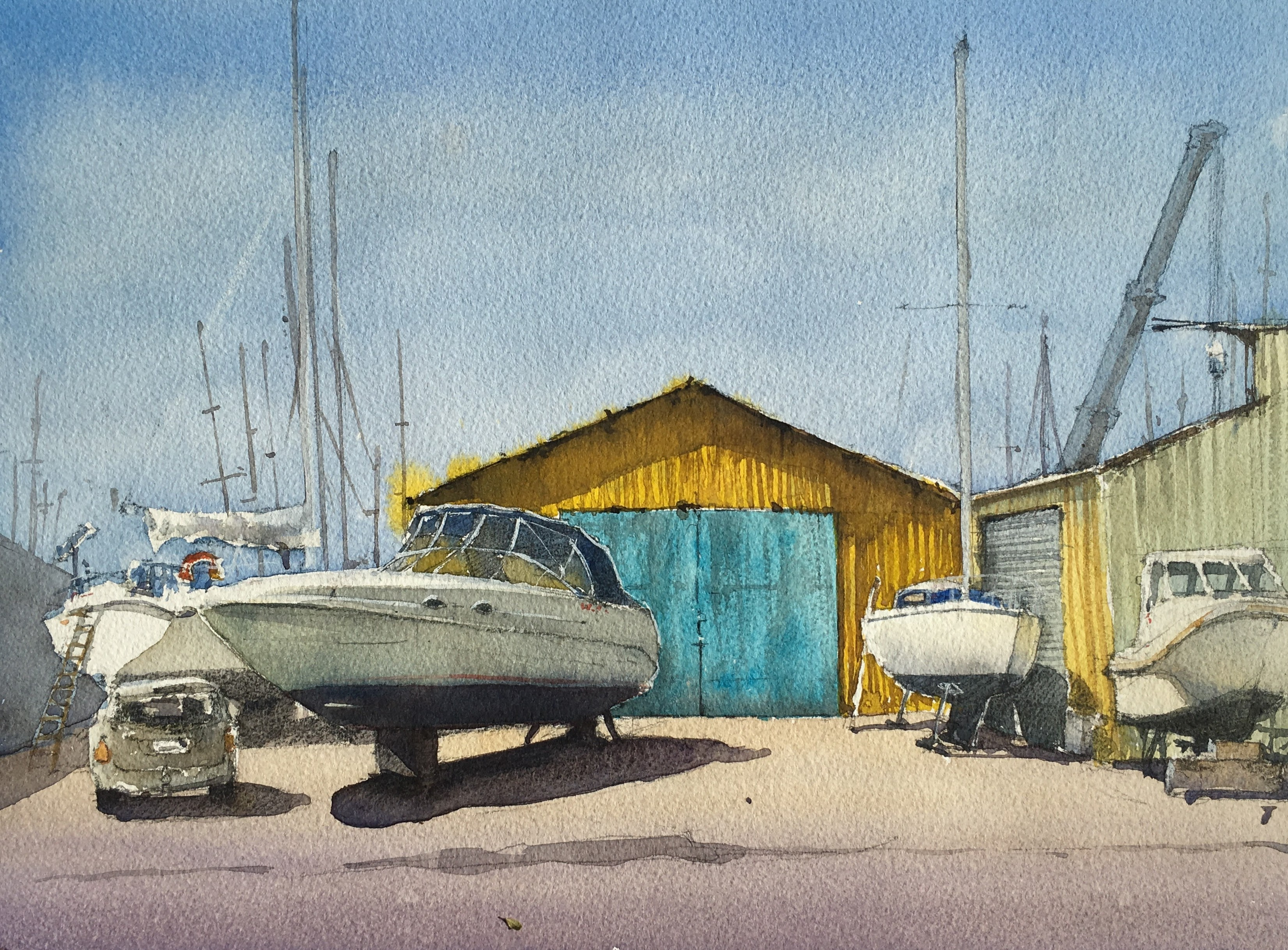 Painting of Paimpol harbour area