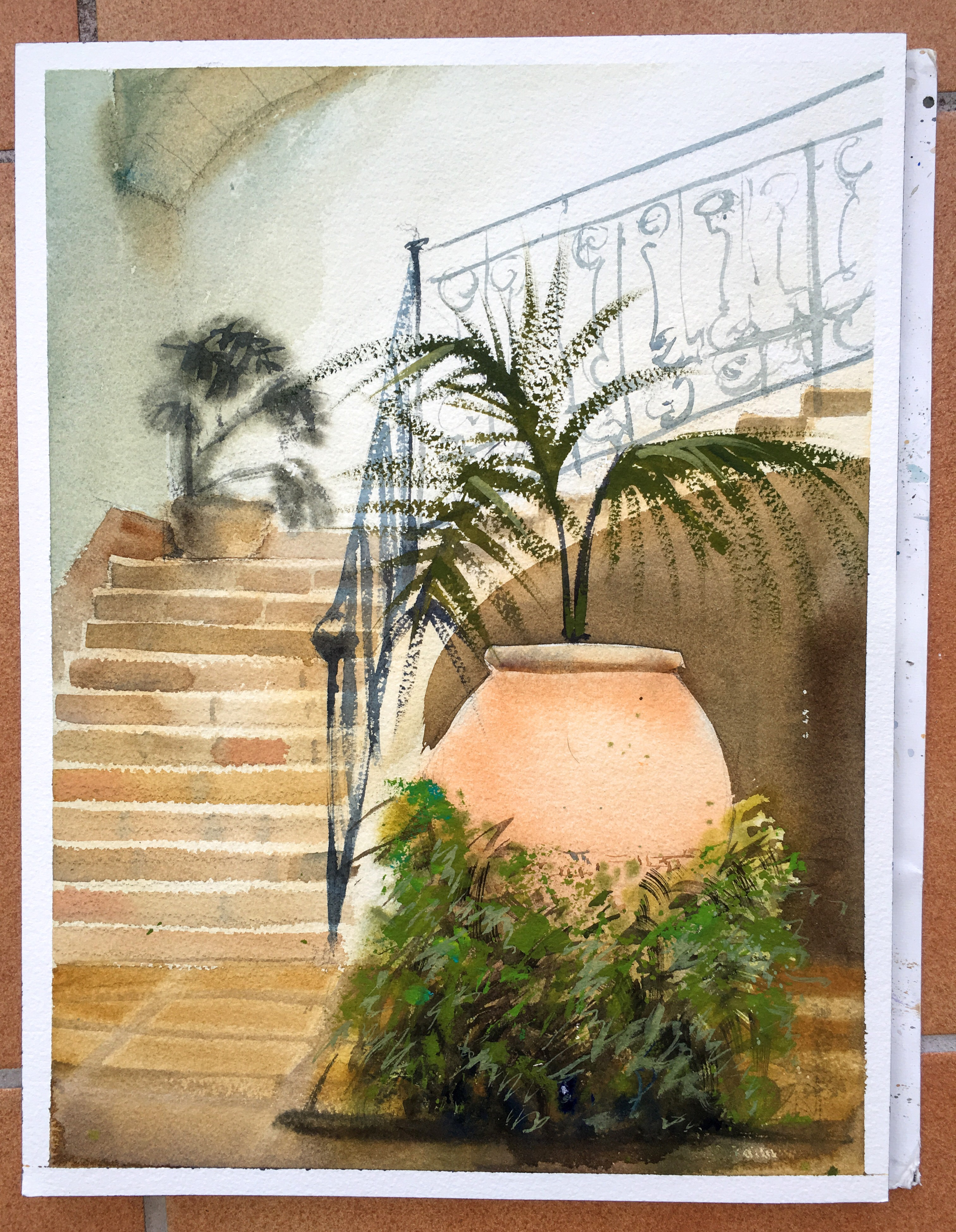 Painting of a court yard in Palma