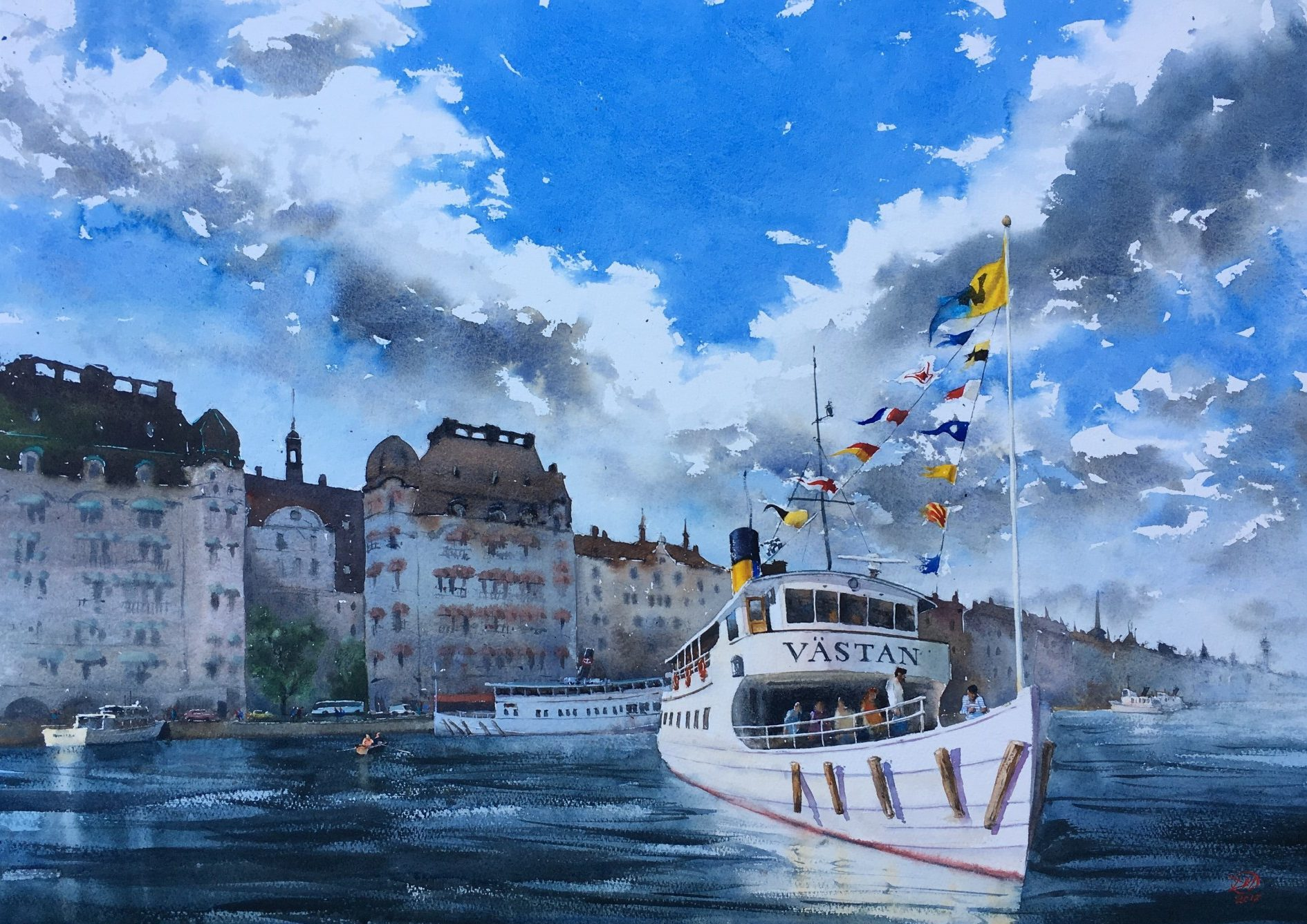 Watercolour of the ferry Västan at Nybrokajen, Stockholm