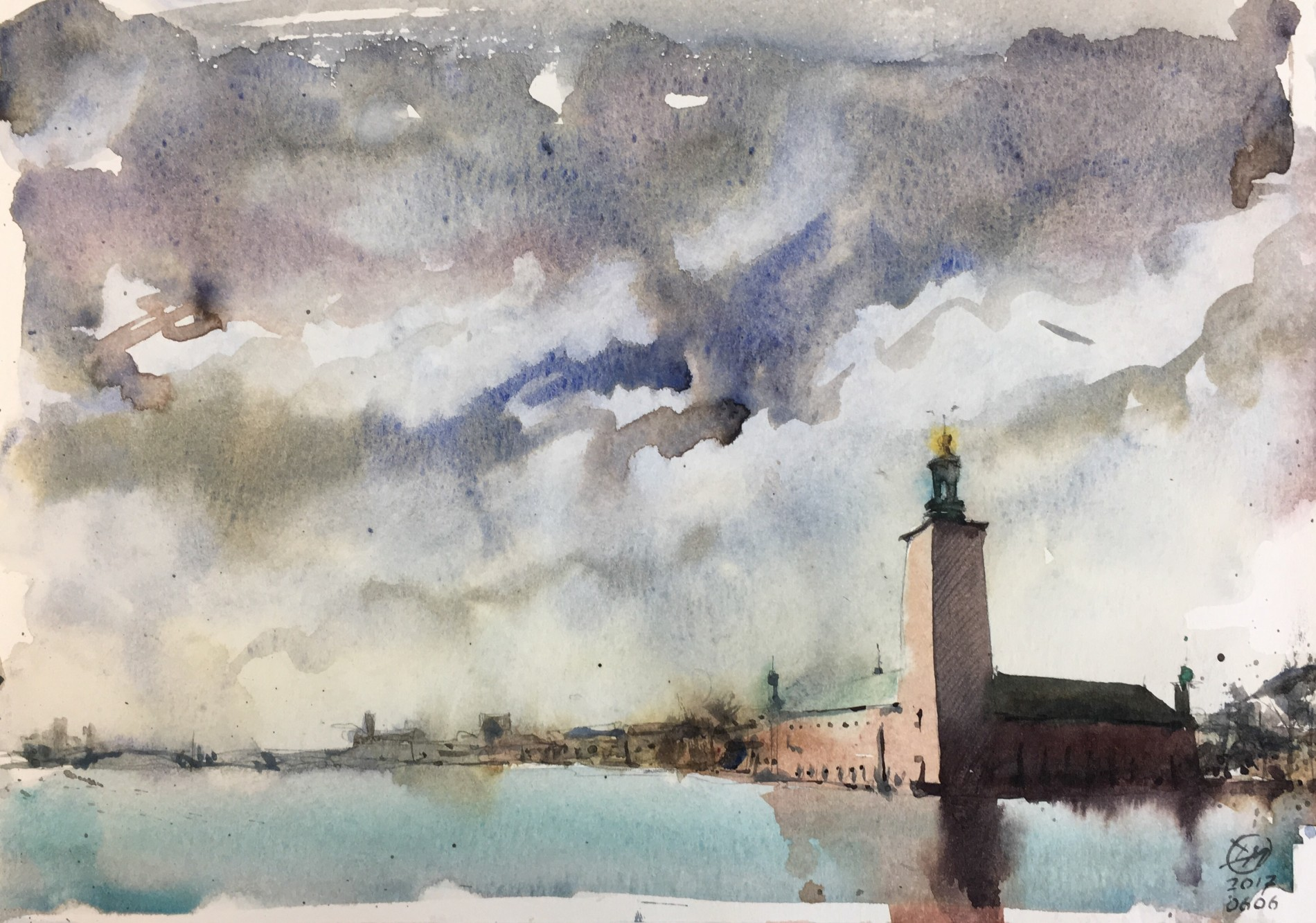 Stadshuset - A watercolour sketch of Stockholm's town hall