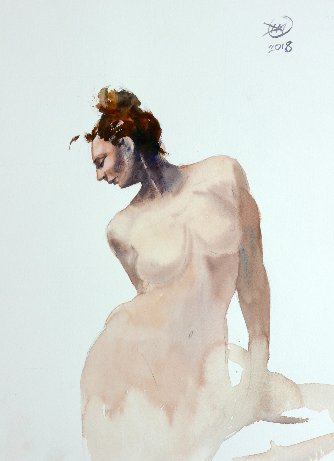 Meldrum - watercolour nude study - original reference by Eugenia Kirikova