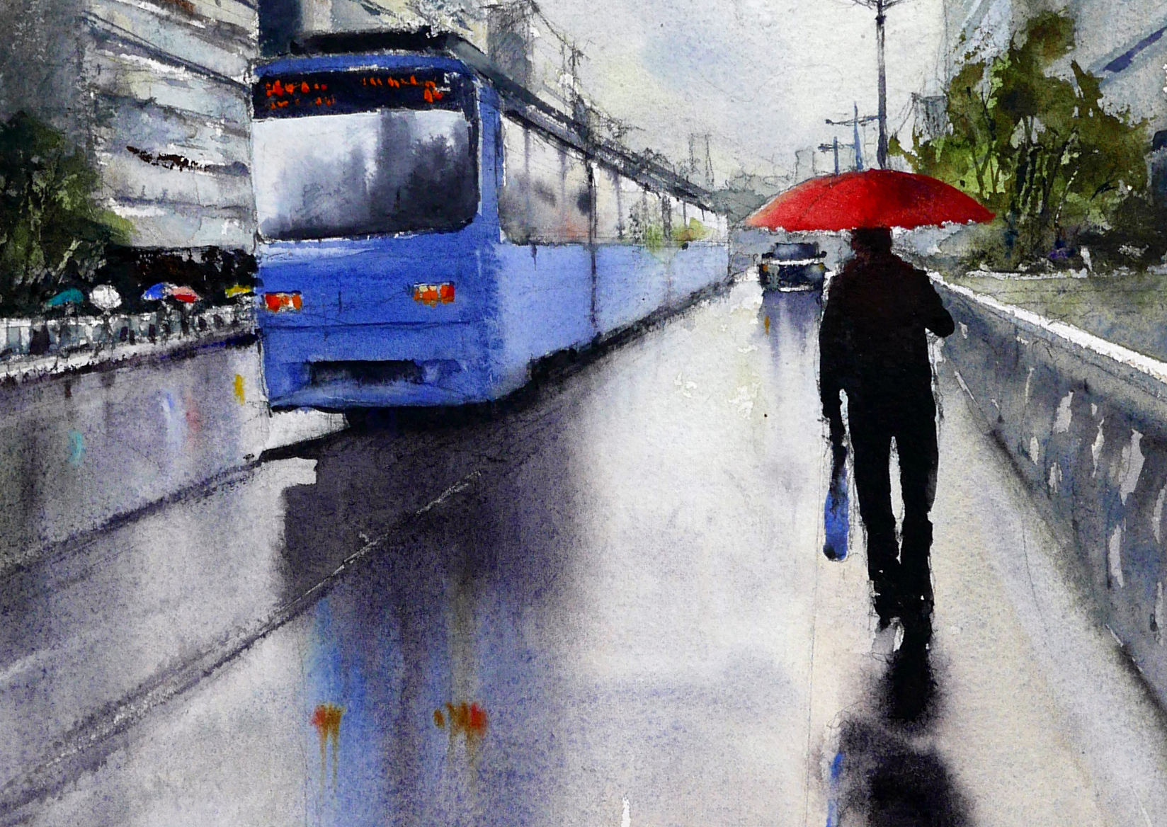 Wet day in Hiroshima watercolour - cropped