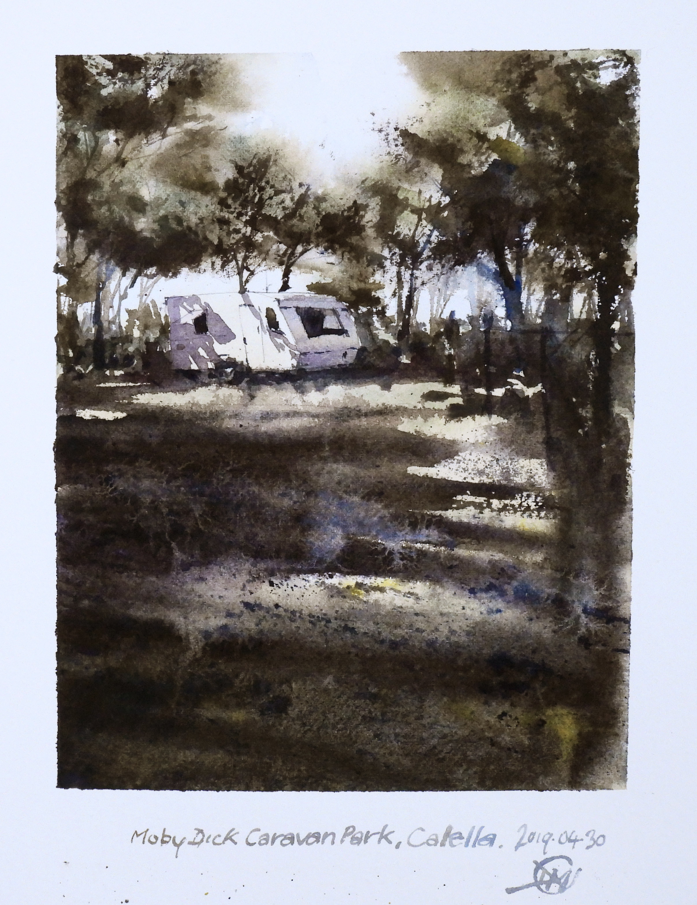 Abandoned Caravan watercolour sketch