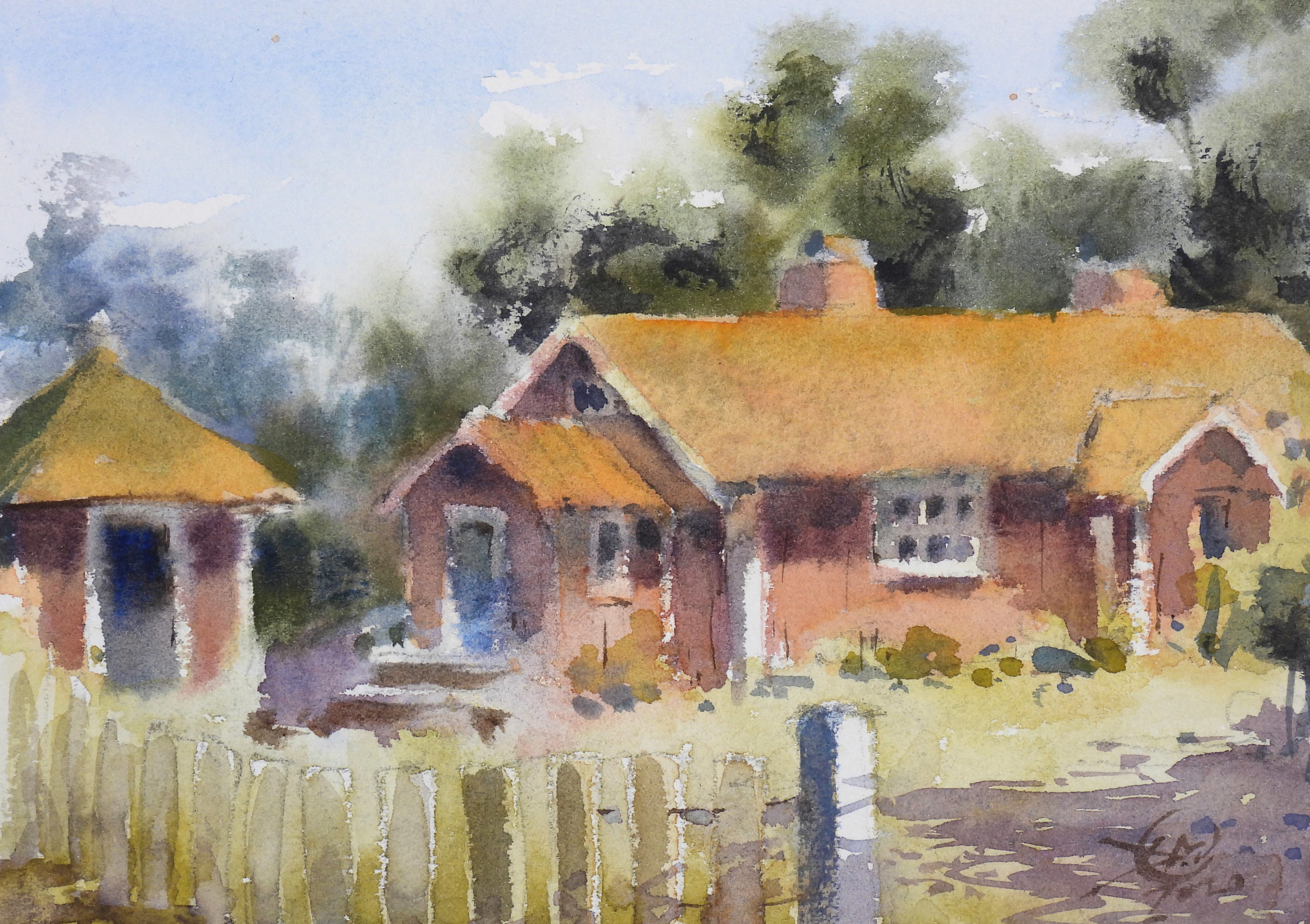 watercolour sketch of summer house
